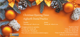 AIGBURTH DENTAL OPENING TIMES FOR THE FESTIVE SEASON 2020